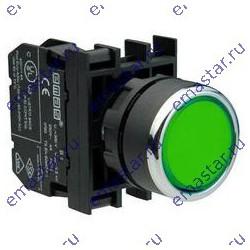 Кнопка нажимная круглая зеленая B100DY