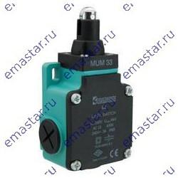 EMAS ► Выключатель концевой быстрого переключения линейный 3-х направленный с пластмассовой консолью, стальным плунжером и ролик