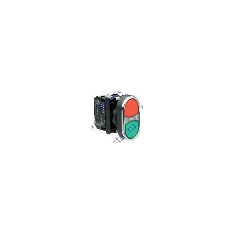 EMAS - Кнопка сдвоенная красно-зеленая с подсветкой неон (1НО+1НЗ)