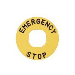 EMAS ► Табличка для аварийной кнопки пластиковая Ø60 мм. «EMERGENCY STOP» – Артикул: BЕТ60P