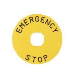Табличка для аварийной кнопки алюминиевая 90 мм. «EMERGENCY STOP»