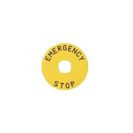 EMAS ► Табличка для аварийной кнопки алюминиевая 90 мм. «EMERGENCY STOP» – Артикул: BET90A