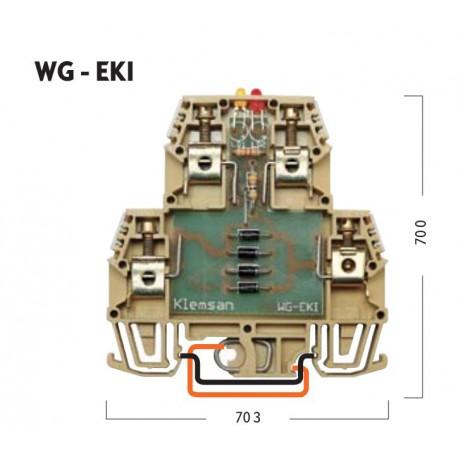 Klemsan WG-EKI - Клеммник 2-х ярусный с электронными компонентами (схема 2 - защита от обратной полярности)