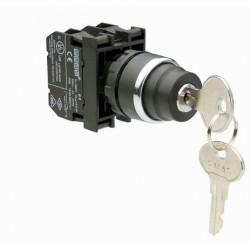 EMAS ► Кнопка с ключом, 2 положения, возвратная (0-1), ключ вынимается в положении 0 (1НО) – Артикул: B100AA21