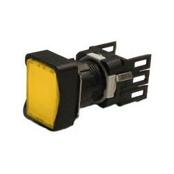 Кнопка нажимная прямоугольная Ø16мм желтая (1НО)