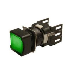 EMAS ► Кнопка нажимная квадратная Ø16мм зеленая (1НО) – Артикул: D100KDY