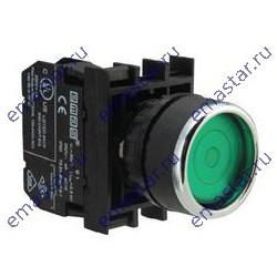 Кнопка с фиксацией зеленая B100FY (1НО)
