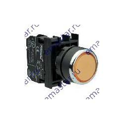 Кнопка с фиксацией и подсветкой неон желтая B132FS (1НО+1НЗ)