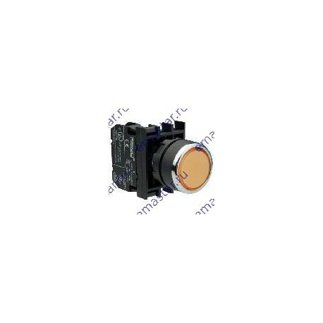 EMAS - Кнопка с фиксацией и подсветкой неон желтая B132FS (1НО+1НЗ)