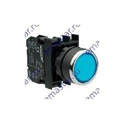 Кнопка с фиксацией и подсветкой неон синяя B131FM (2НО)