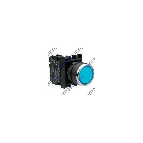 EMAS - Кнопка с фиксацией и подсветкой неон синяя B130FM (1НО)