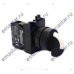 EMAS - Переключатель 0-1 с фиксацией (1НО) с LED синий (12-30В AC-DC)