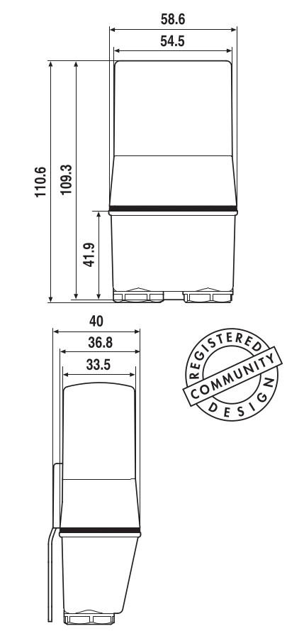 Габаритные размеры finder серии 10.41