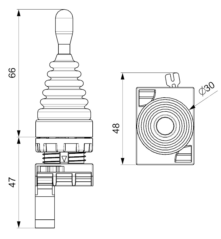 EMAS - Габаритные размеры джойстика CM101DJ21