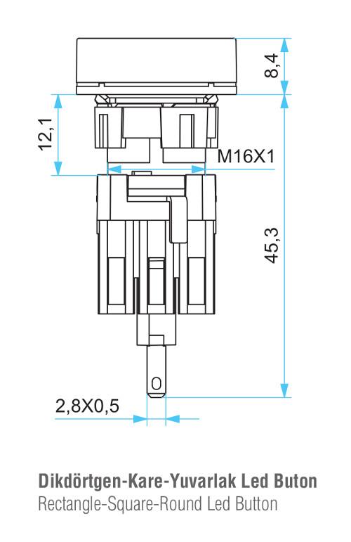 EMAS – Габаритные размеры корпуса кнопки серии D