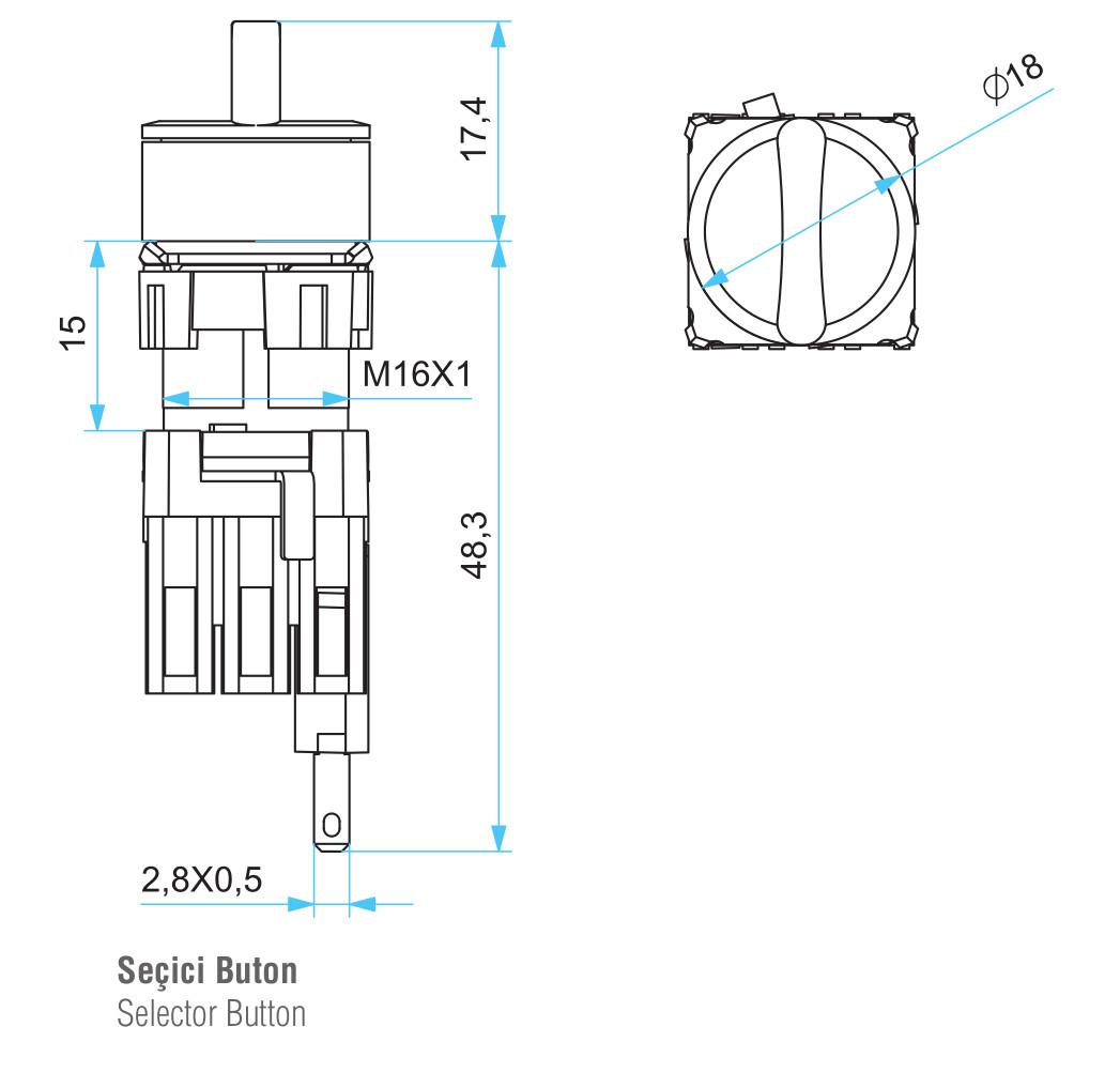 EMAS – Габаритные размеры корпуса переключателя серии D