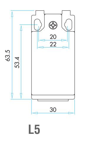 EMAS - Габаритные размеры концевика серии L5