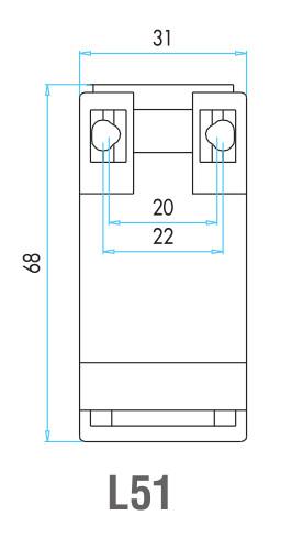 EMAS - Габаритные размеры концевого выключателя серии L51