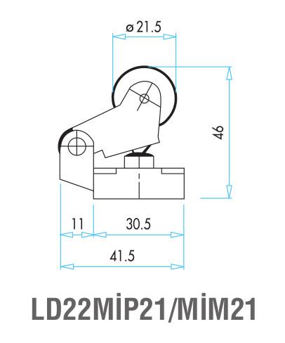 EMAS - Габаритные размеры ролика концевого выключателя L2K13MIP21