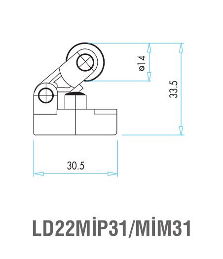 EMAS – Габаритные размеры ролика концевого выключателя L4K16MIP31