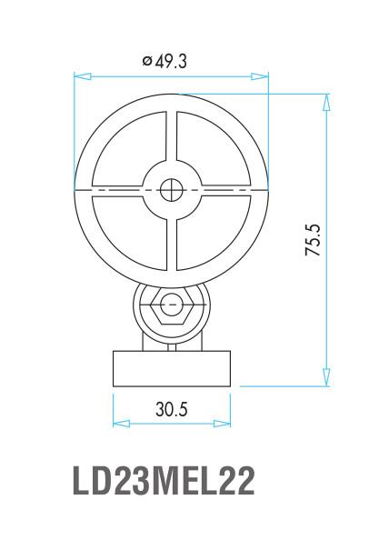 EMAS - Габаритные размеры ролика концевого выключателя L2K13MEL22