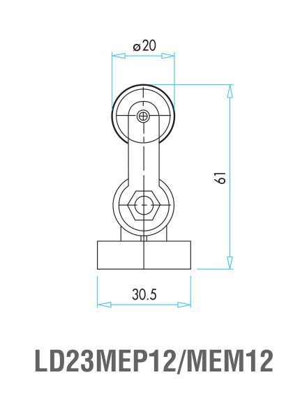 EMAS – Габаритные размеры ролика концевого выключателя L4K16MEM12
