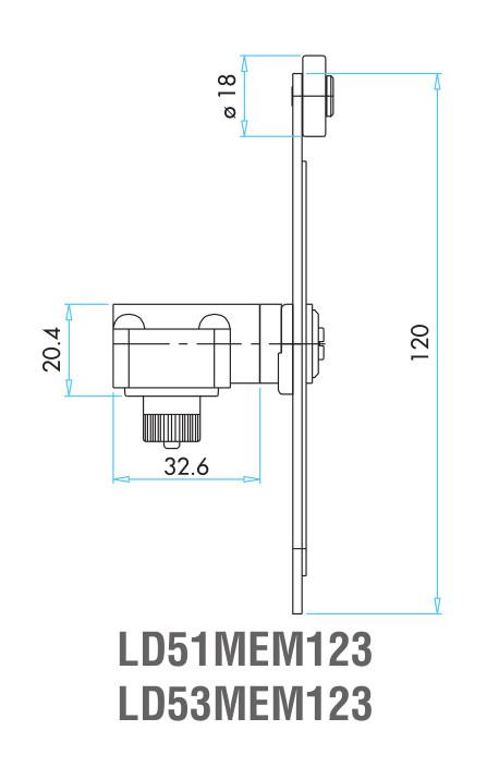 EMAS - Габаритные размеры наконечника концевого выключателя L2K13MEM123