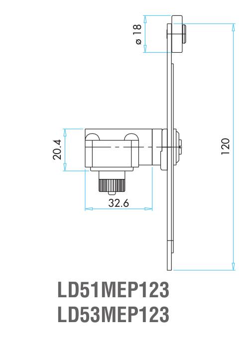 EMAS – Габаритные размеры ролика концевого выключателя L51K23MEP123